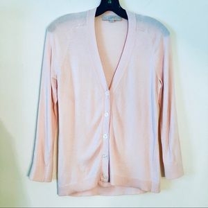LOFT | Light Pink V Neck Button Front Cardigan